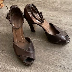 Brown Leather Marni Peeptoe Platforms